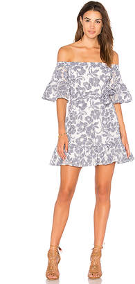 J.O.A. Floral-Lace Off The Shoulder Dress in Navy $95 thestylecure.com