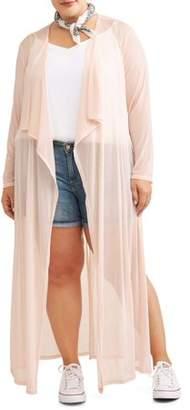 Miss Lili Juniors' Plus Kimono with Mesh Belt