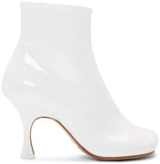 e66d65ac2456 MM6 MAISON MARGIELA White Patent Flared Heel Boots