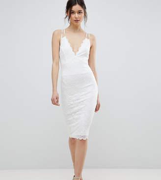 City Goddess Tall Scalloped Edge Lace Midi Dress