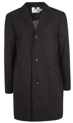 Topman Mens Grey Gray Textured Overcoat