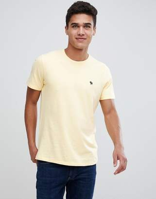 Abercrombie & Fitch icon moose logo crew neck t-shirt in yellow