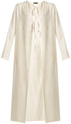 The Row Tiel tie-front floral-cloqué coat