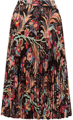 Etro Pleated Printed Crepe Skirt - Black
