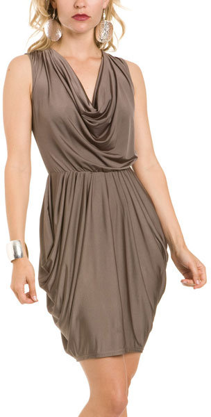 Gray Drape Neck Dress