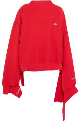 Vetements - + Champion In Progress Oversized Cotton-blend Top - Red $810 thestylecure.com