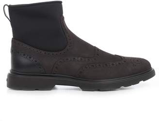 Hogan Perforated Detail Ankle Boots