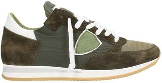 Philippe Model Green Suede And Fabric Tropez Sneakers