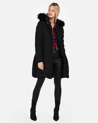 Express Petite Long Belted Puffer Jacket