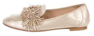 Aquazzura Metallic Fringe Loafers