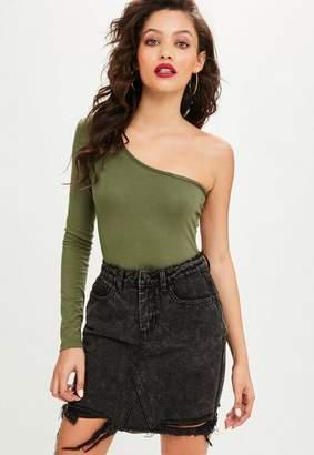 Missguided Black Washed Shadow Pocket Denim Skirt