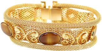 One Kings Lane Vintage 1950s Mesh & Tiger's Eye Glass Bracelet