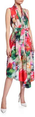 ADAM by Adam Lippes Belted Tie-Dye-Poplin Asymmetric Dress