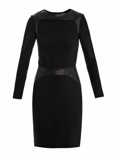 L'Agence Leather and crepe dress