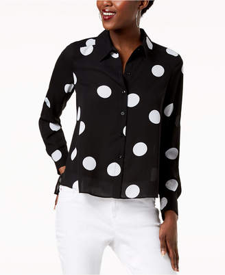INC International Concepts I.n.c. Polka-Dot High-Low Shirt, Created for Macy's