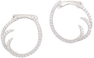 Frederic Sage 18K White Gold Pavé Diamond Small Single Wave Hoop Earrings