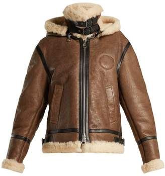 Chloé Shearling And Leather Aviator Jacket - Womens - Brown Multi