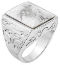 Marco Dal Maso Men's Square Silver Ring with White Howlite, Size 9.5