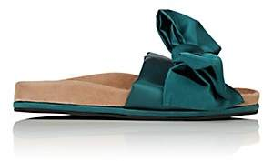 Barneys New York Women's Bow-Embellished Satin Slide Sandals - Turquoise