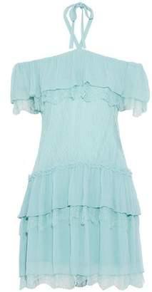 Alice + Olivia Alice+olivia Flora Tiered Georgette-Paneled Chantilly Lace Halterneck Mini Dress