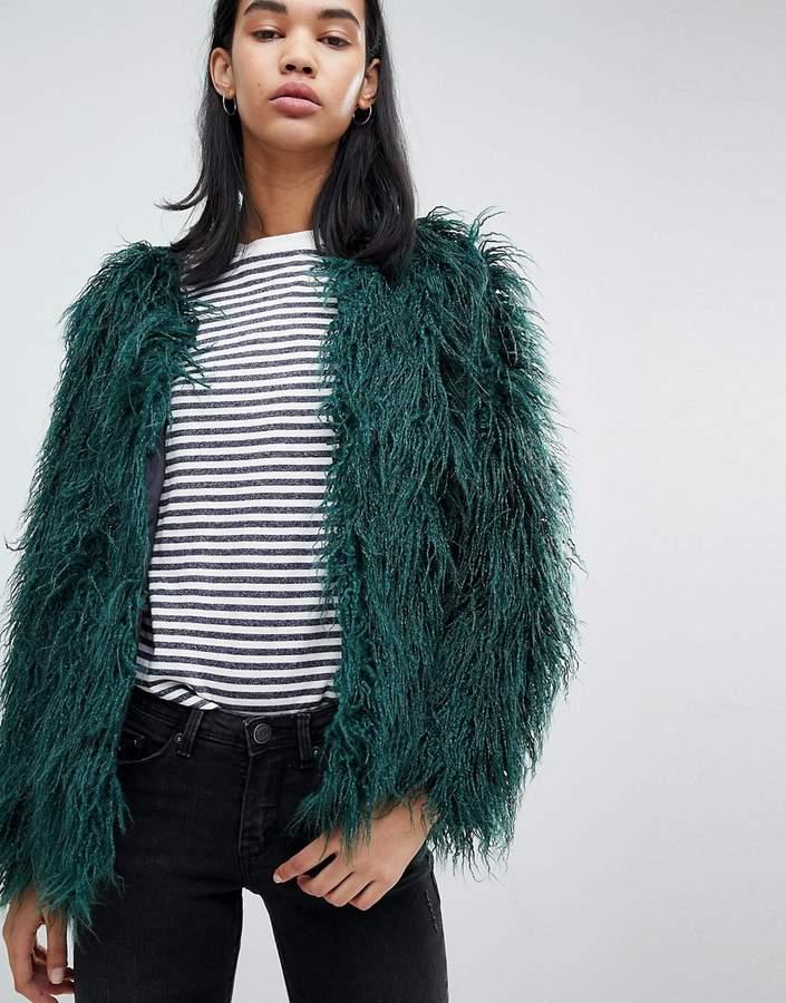 Feyla Crimped Faux Fur Jacket