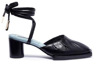 REIKE NEN Ankle tie leather mule sandals