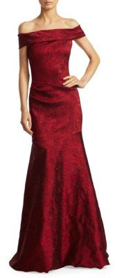 Theia Off-The-Shoulder Mermaid Gown $995 thestylecure.com