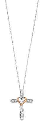 Two Tone 10k White Gold Cross & Heart Pendant Necklace