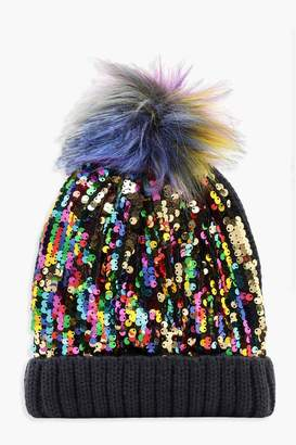 boohoo Rainbow Sequin Beanie With Faux Fur Pom