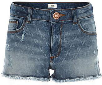 River Island Girls RI monogram denim shorts