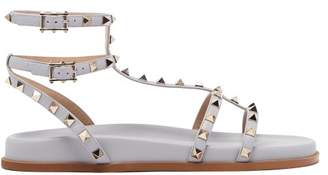 Valentino Submerge Rockstud Leather Sandals - Womens - Grey