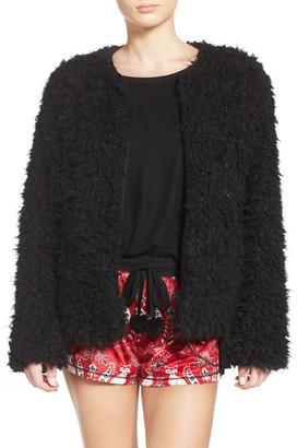 Kensie Faux Fur Cardigan $68 thestylecure.com