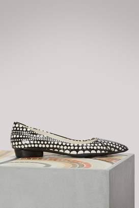 Sartore Leather polka dot ballet flats