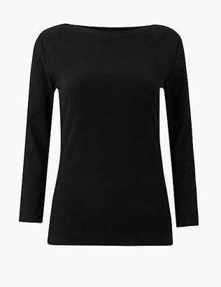 M&S Collection Textured 3/4 Sleeve T-Shirt