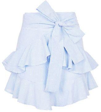 Topshop Dobby ruffle tie mini