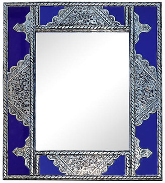 One Kings Lane Vintage Blue Moroccan Mirror with Silver Engraving - The Moroccan Room