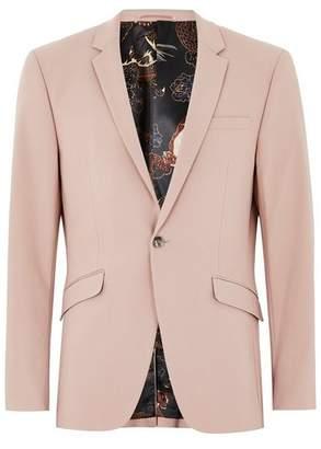 Topman Mens Pink Dusty Rose Skinny Suit Jacket