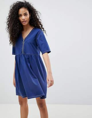 Asos DESIGN Contrast Stitch Zip Front Smock Dress