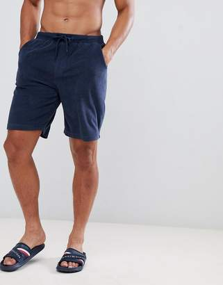 Tommy Hilfiger towelling shorts with flag logo in navy