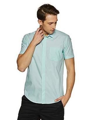 Casual Terrains Men's Tailored Slim-Fit Short-Sleeve Vintage Style Hidden Placket Shirt