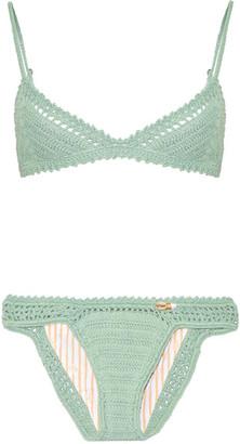She Made Me - Crocheted Cotton Triangle Bikini - Gray green $180 thestylecure.com