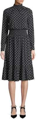 MICHAEL Michael Kors Smocked Neck & Waist Long-Sleeve Foulard-Print Dress