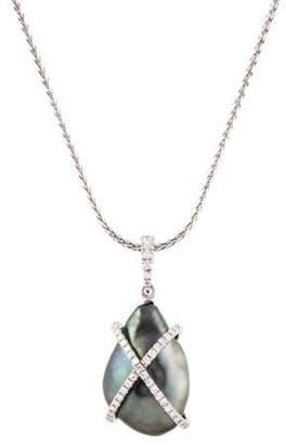 Tara Pearls 18K X & O's Pearl & Diamond Pendant Necklace white 18K X & O's Pearl & Diamond Pendant Necklace