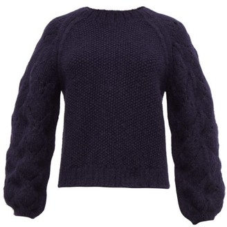 Apiece Apart Seed Pointelle Alpaca Blend Sweater - Womens - Navy