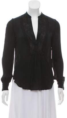 Haute Hippie Silk Lace-Accented V-Neck Long Sleeve Top