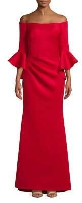Betsy & Adam Bell-Sleeve Off-The-Shoulder Dress