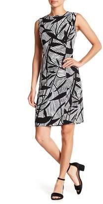 Kasper Sleeveless High Neck Geometric Print Dress