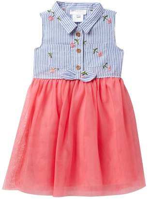Blush by Us Angels Sleeveless Button Up Stripe Bodice Dress (Toddler & Little Girls)