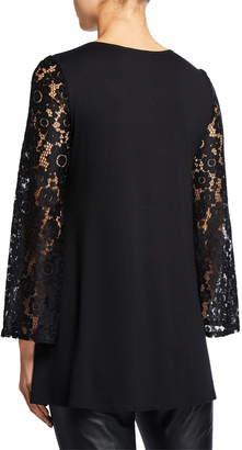Neiman Marcus Sheer Lace High-Low Blouse