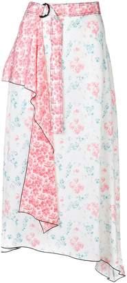 Joseph floral print contrast belt skirt